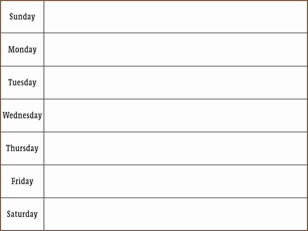 One Week Calendar with Hours Best Of 4 Weekly Schedule Printable