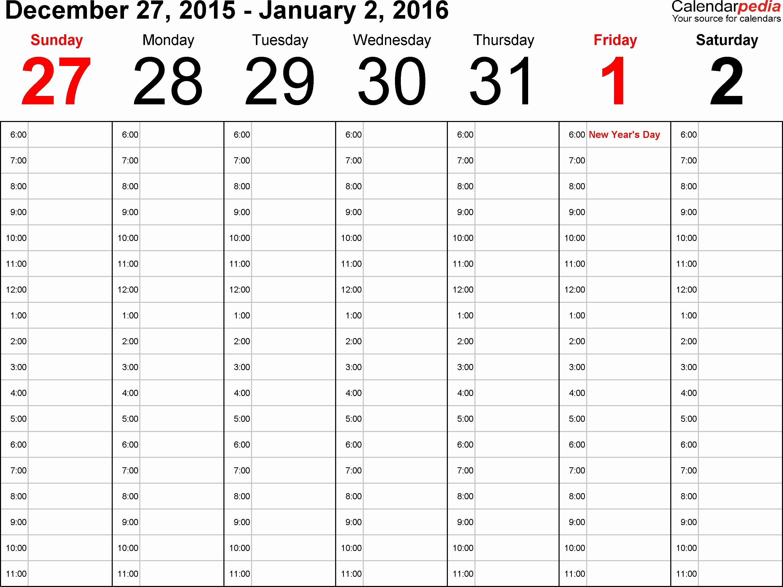 One Week Calendar with Hours Elegant Weekly Calendar 2016 for Word 12 Free Printable Templates