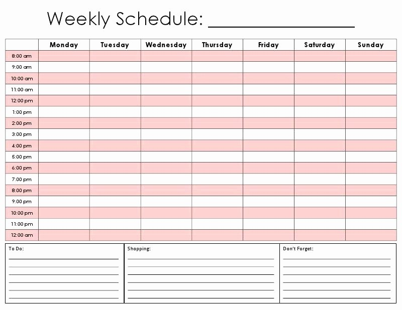 One Week Calendar with Hours Fresh Weekly Calendar by Hour
