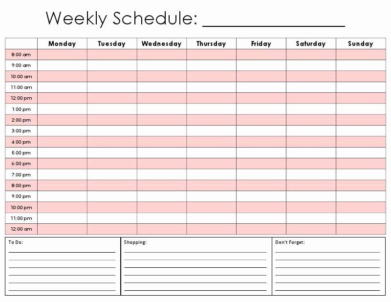 One Week Calendar with Hours Fresh Weekly Calendar by Hour