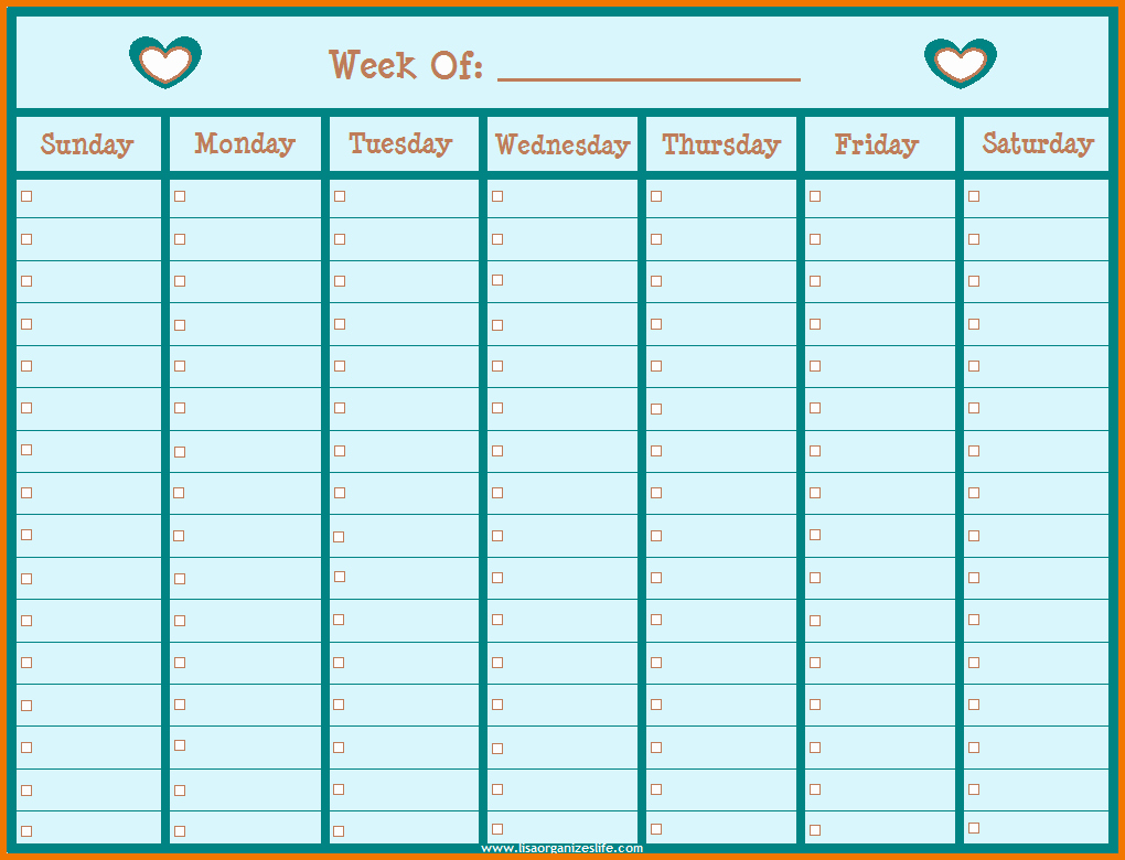 One Week Calendar with Hours New Printable Hourly Calendar 2017