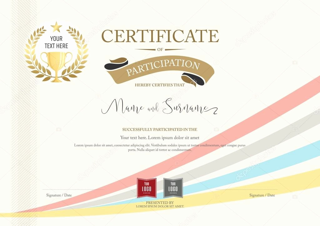Online Certificate Maker with Logo Luxury Certificate Of Participation Template with Golden Award