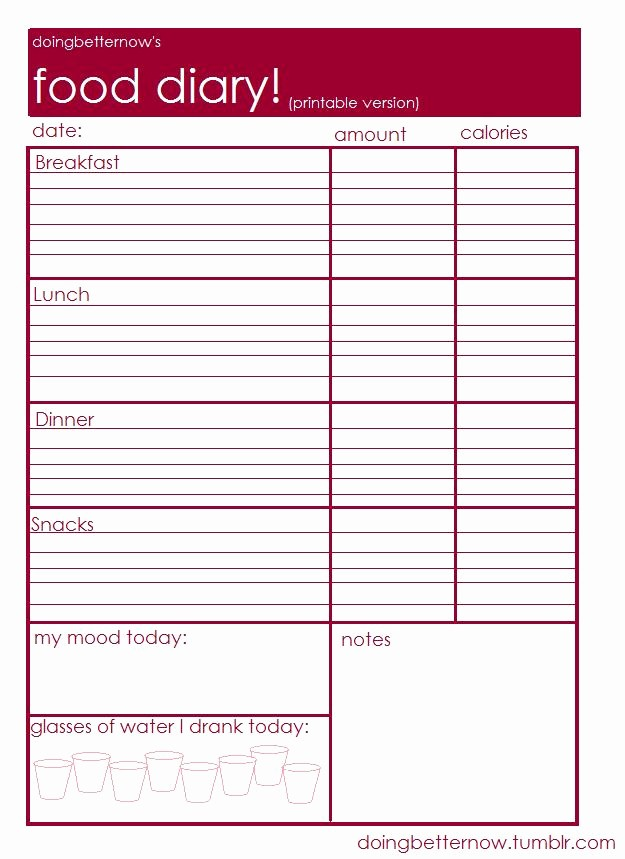Online Food and Exercise Journal Awesome 8 Best Of Weekly Food Journal Printable Worksheet