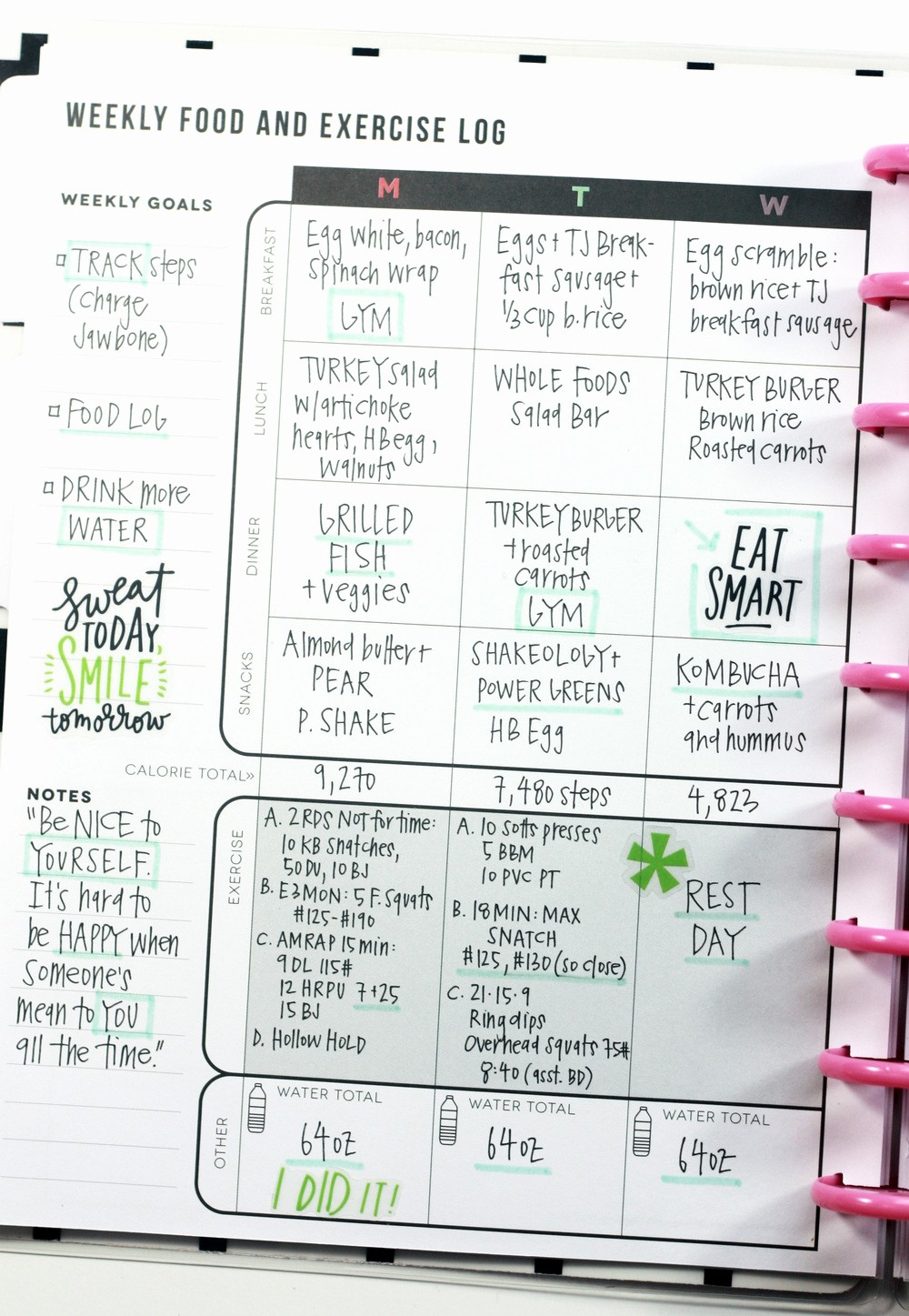 Online Food and Exercise Journal New the Fitness Planner