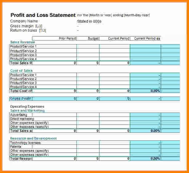 Online Profit and Loss Statement Fresh Printable Profit and Loss Statement form Pertamini