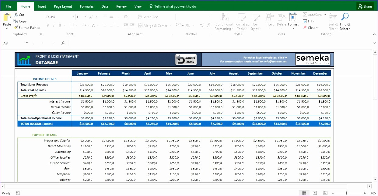 Online Profit and Loss Statement Inspirational 12 Profit & Loss Excel Template Exceltemplates