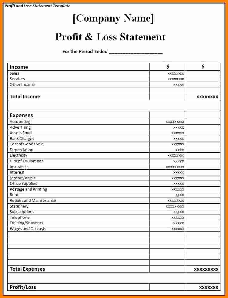 Online Profit and Loss Statement Inspirational Profit and Loss Statement for Small Business