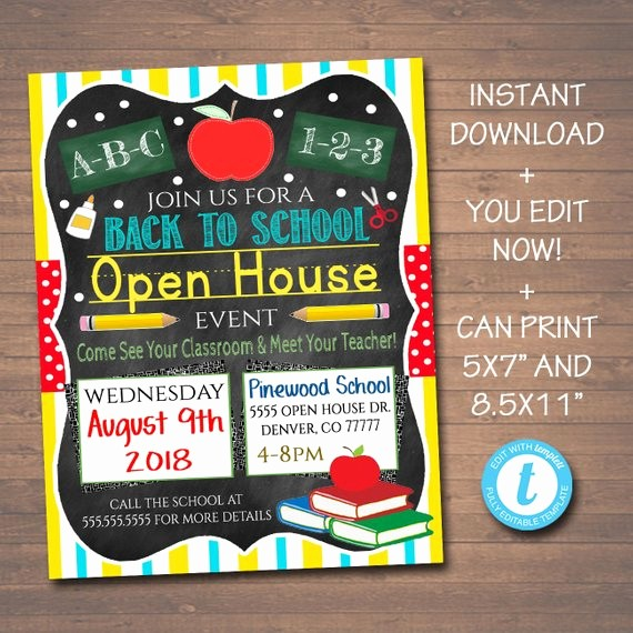 Open House Flyer for School Awesome Editable School Open House Flyer Printable Pta Pto Flyer
