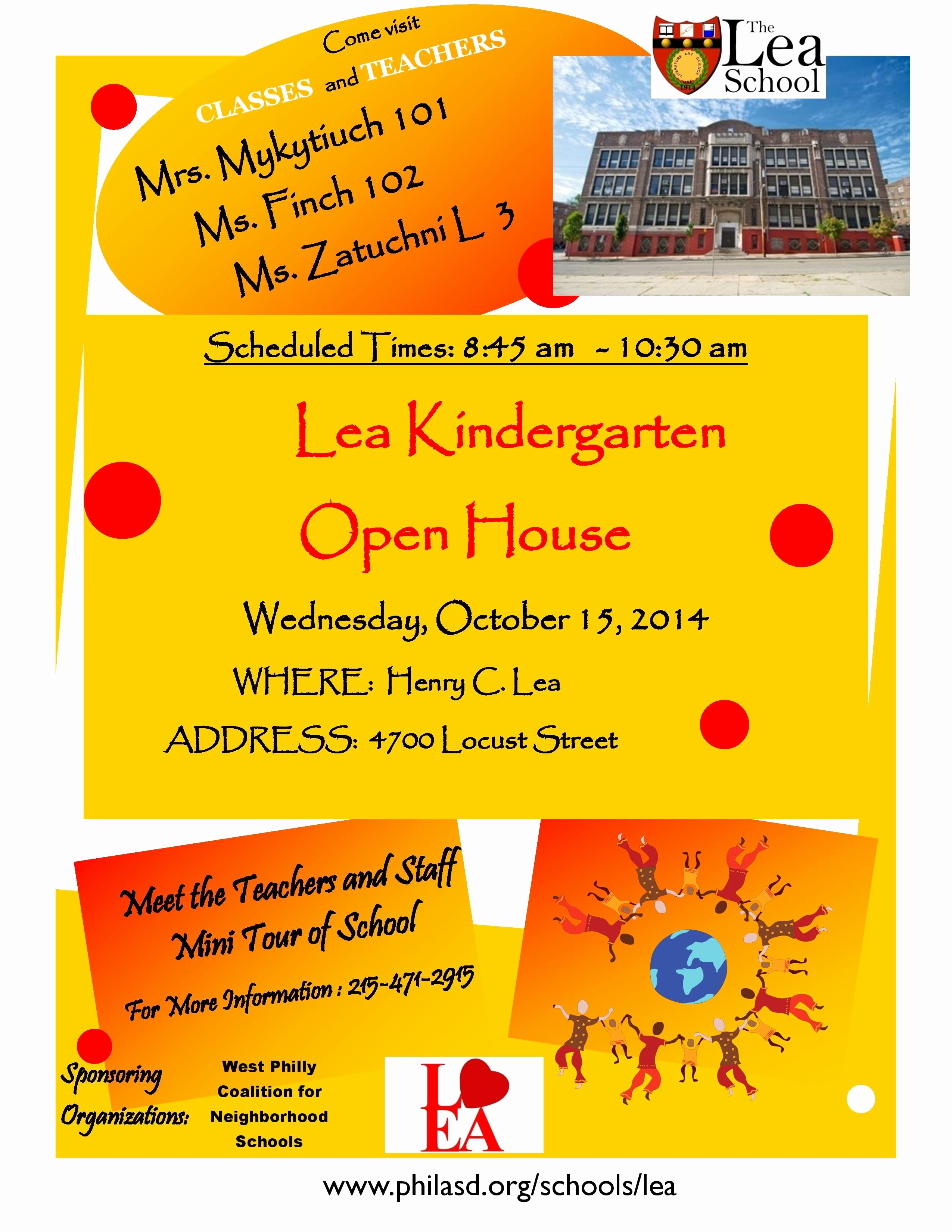 Open House Flyer for School Beautiful October Kindergarten Open House at Lea West Philly