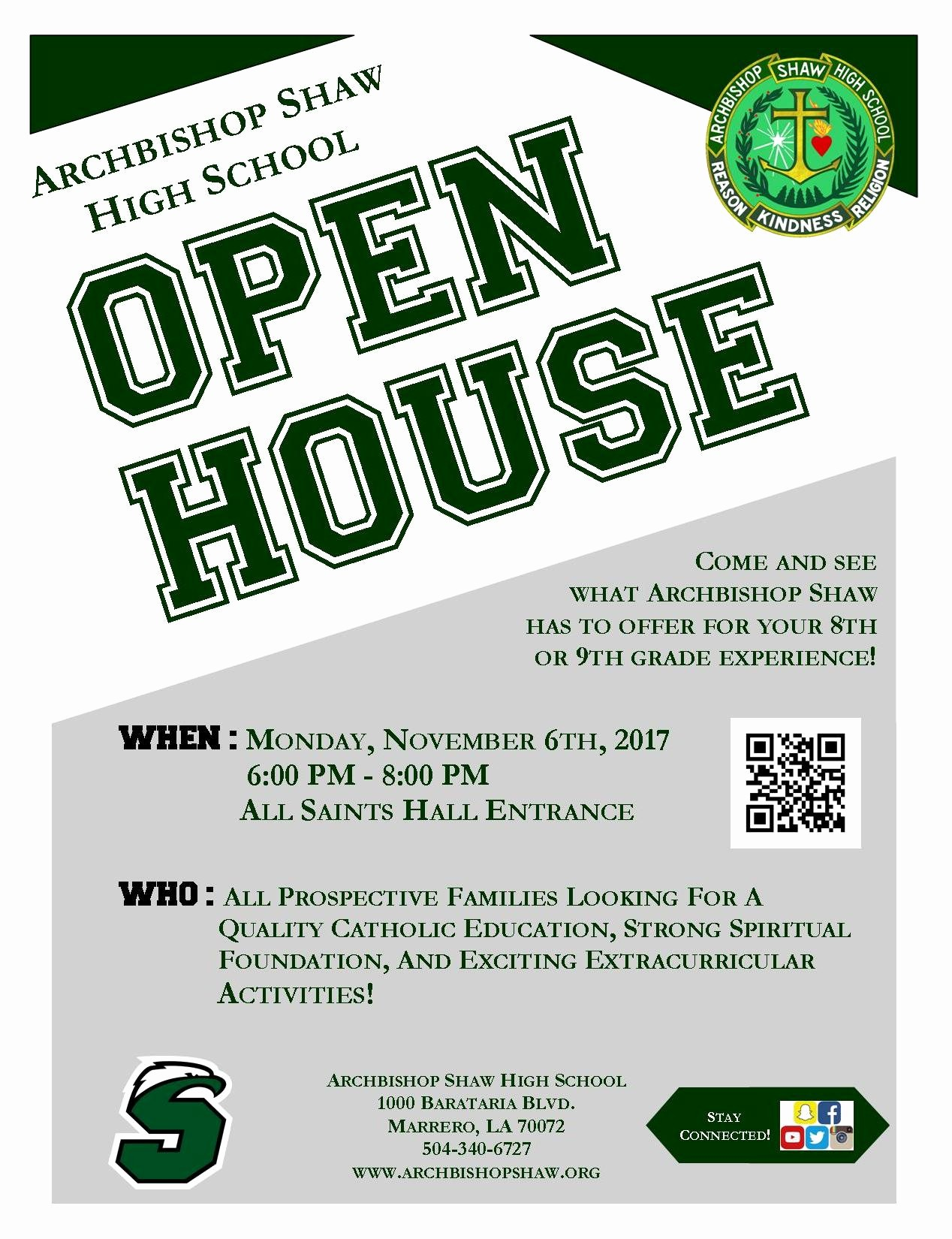 Open House Flyer for School Beautiful Open House Archbishop Shaw High School