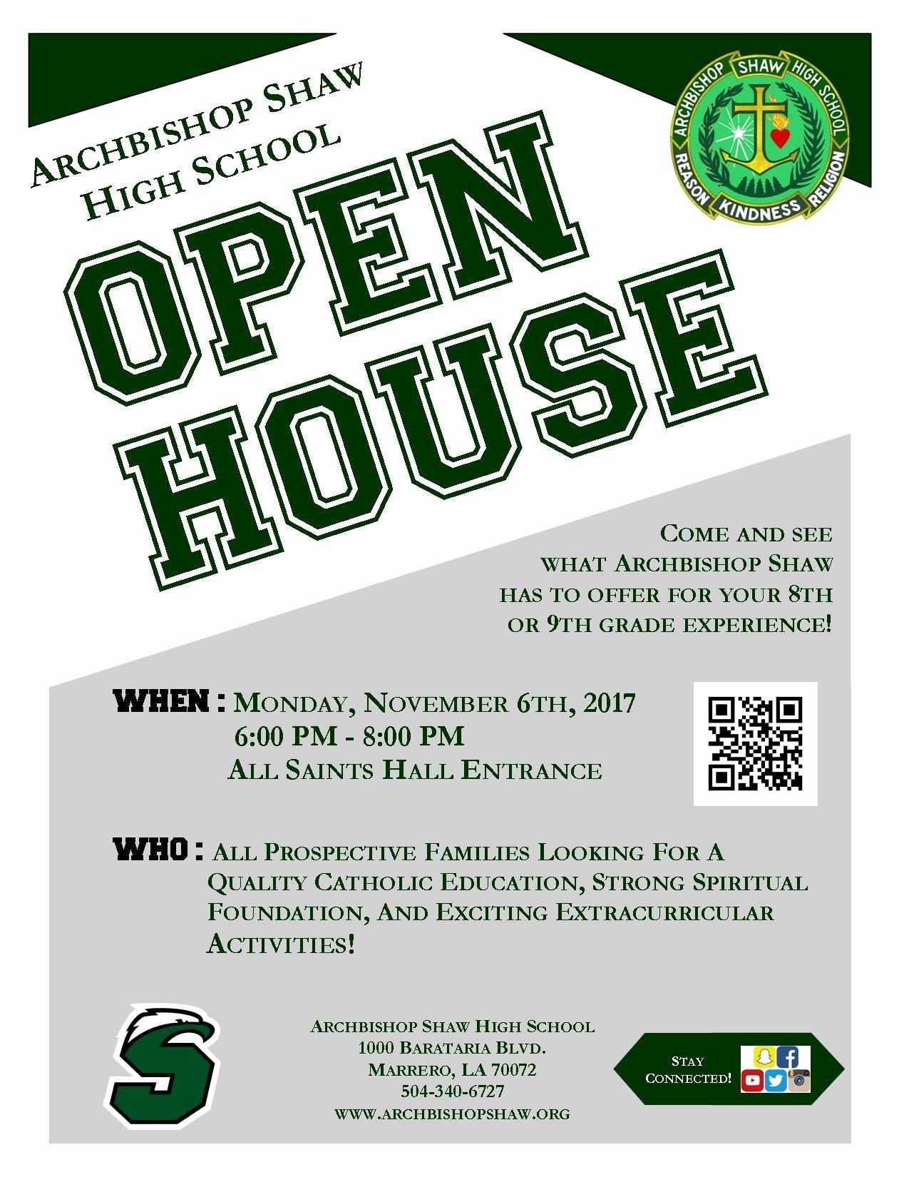 Open House Flyer for School Beautiful Open House Archbishop Shaw High School