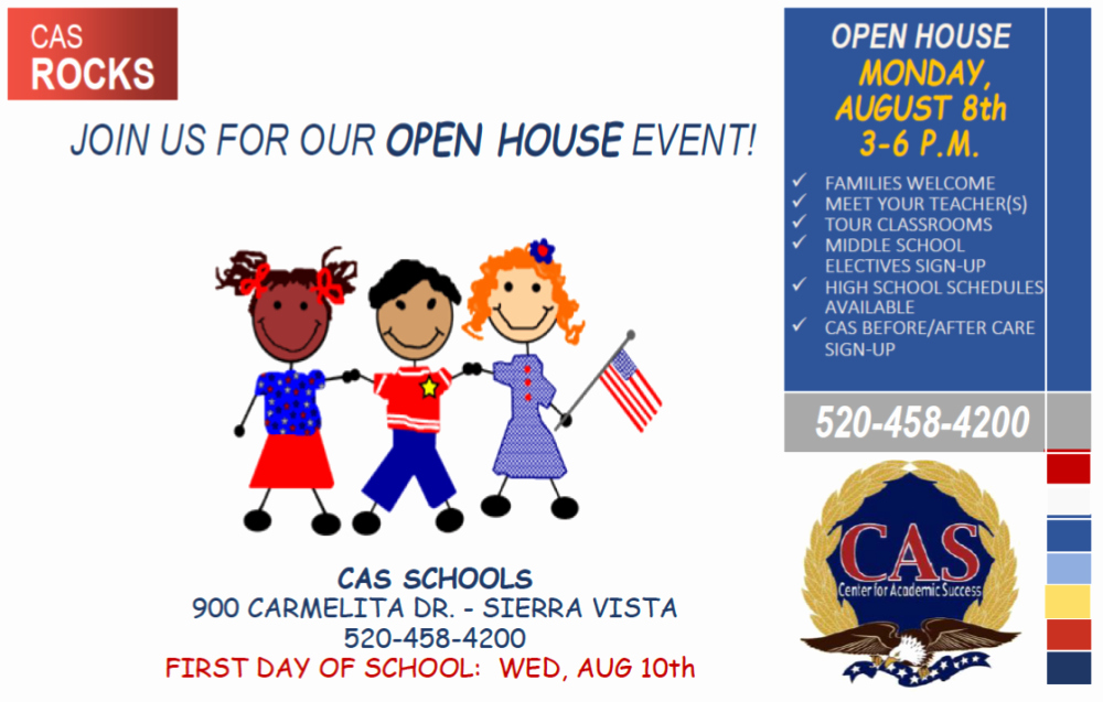Open House Flyer for School Elegant Cas Sierra Vista to Hold K 12 Open House event On August