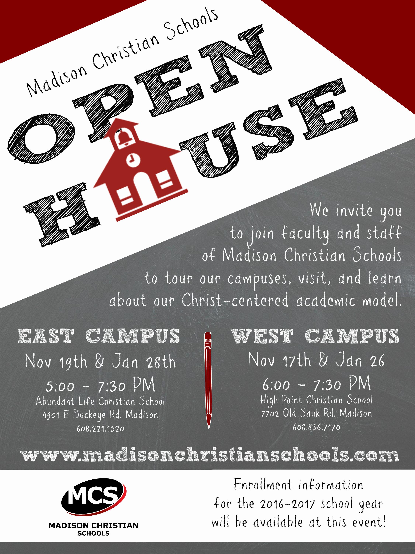 Open House Flyer for School Elegant Public Open House High Point Christian School