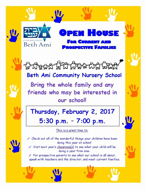 Open House Flyer for School Fresh Nursery School News and events Congregation Beth Ami