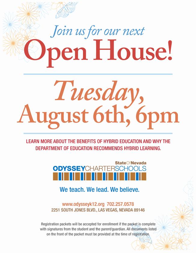 Open House Flyer for School Fresh Odyssey Charter Schools