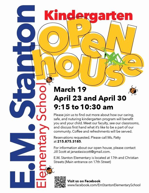 Open House Flyer for School Inspirational E M Stanton Kindergarten Open House sosna