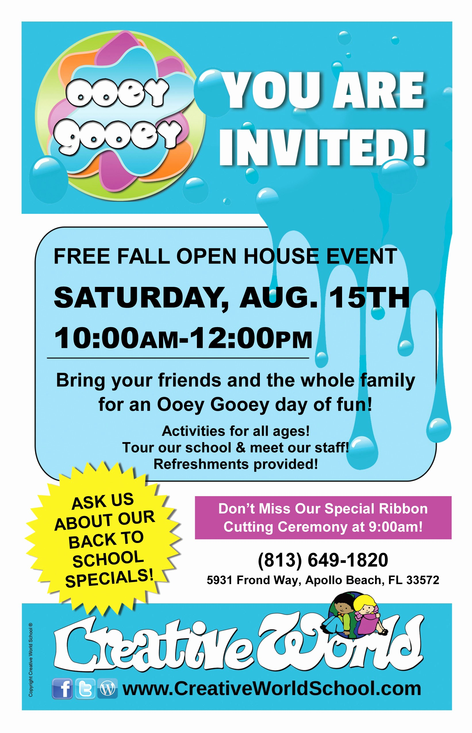 Open House Flyer for School Lovely Preschool In Tampa Cws Apollo Beach Creative World School
