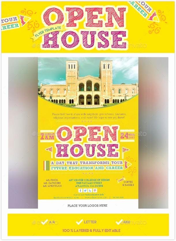 Open House Flyer for School Luxury 15 Eye Catching Open House Flyer Templates 2018 Templatefor