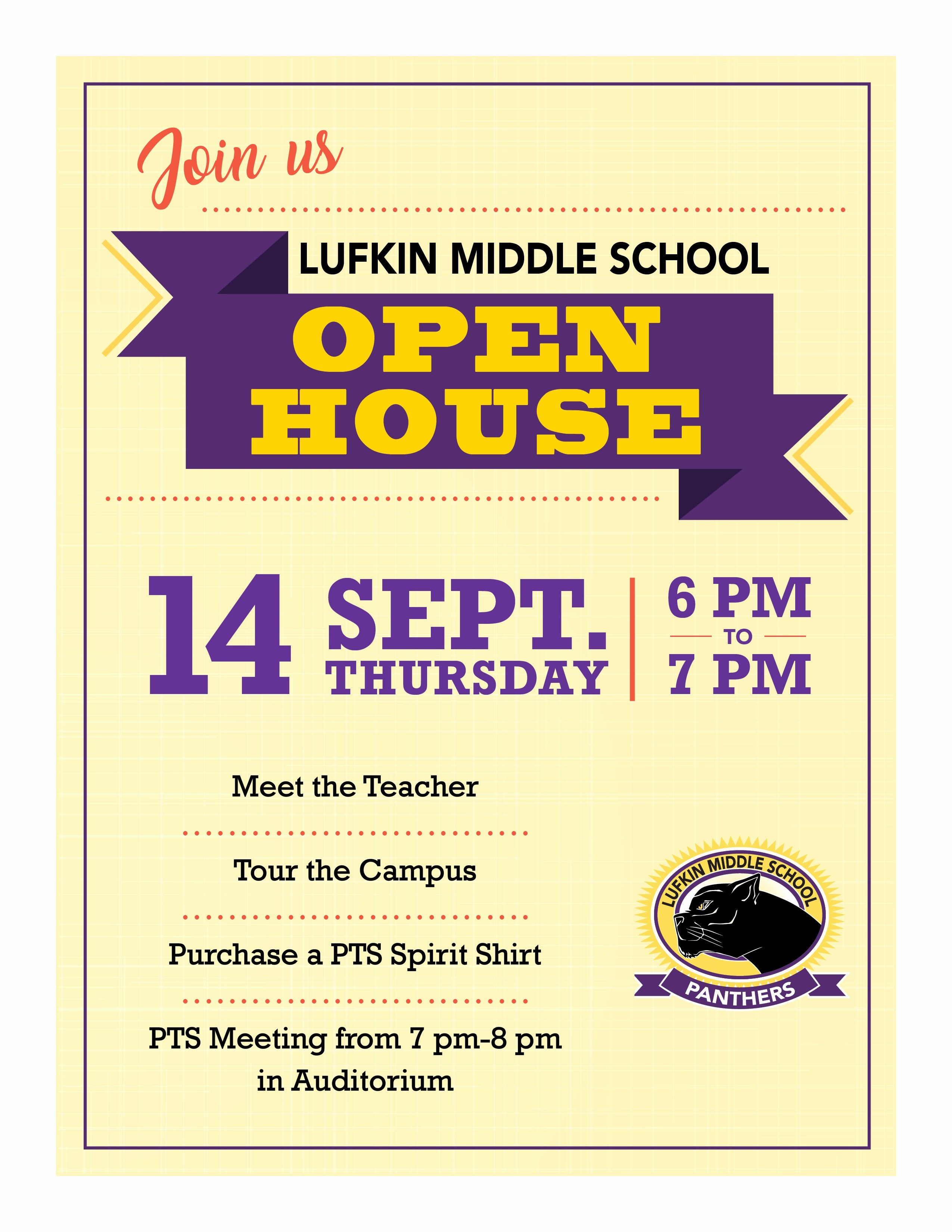 Open House Flyer for School New Lms Open House