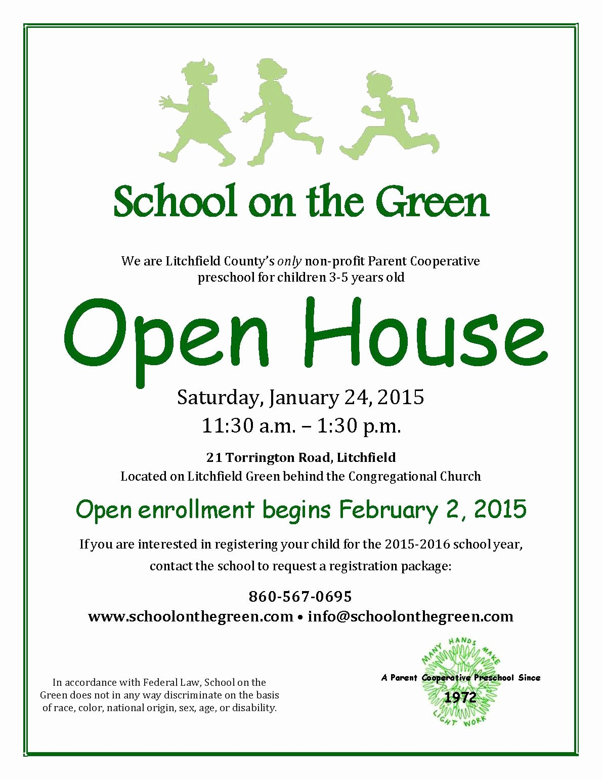 Open House Flyer for School New School the Green