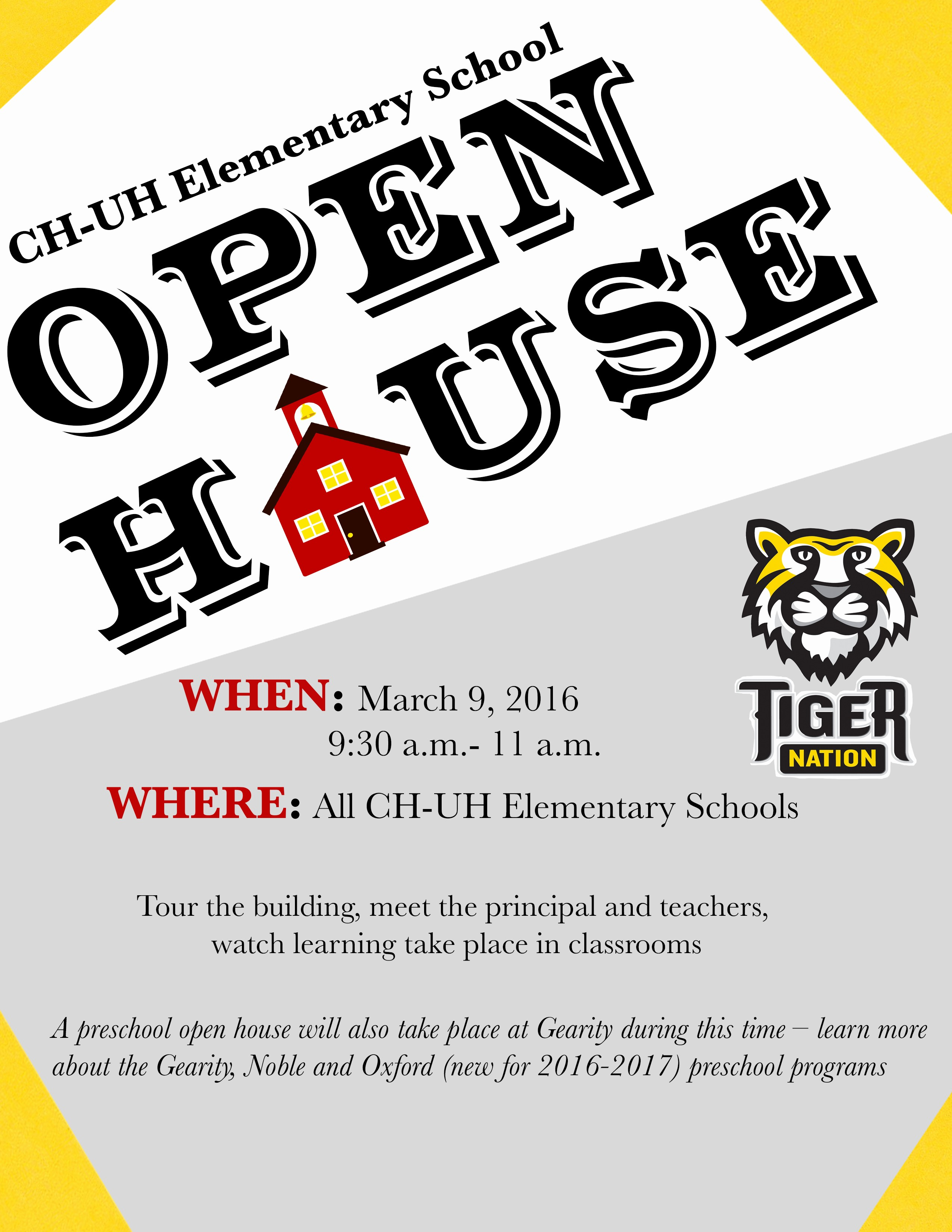 Open House Flyer for School Unique Cleveland Heights University Heights City School District