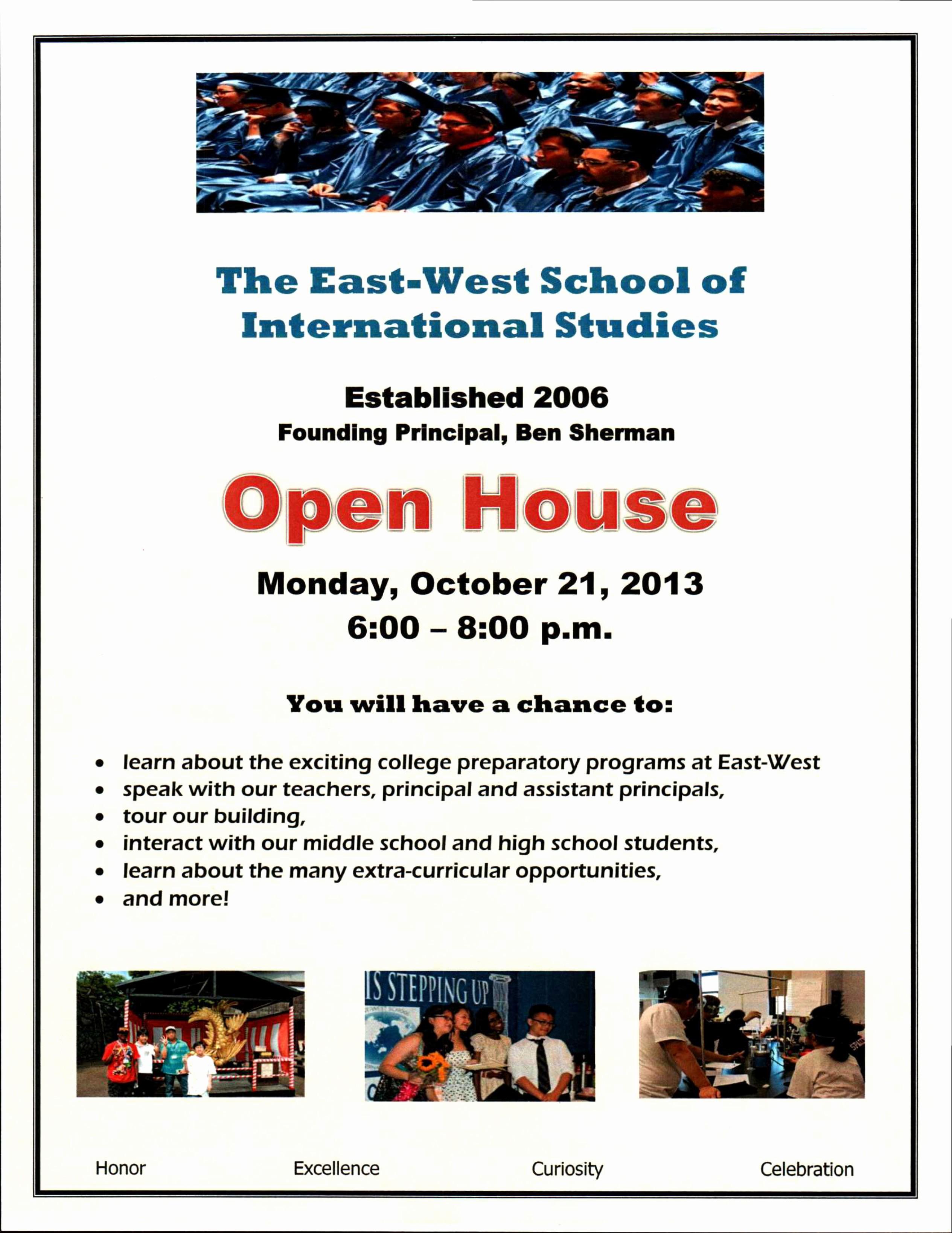 Open House Flyer for School Unique East West Open House