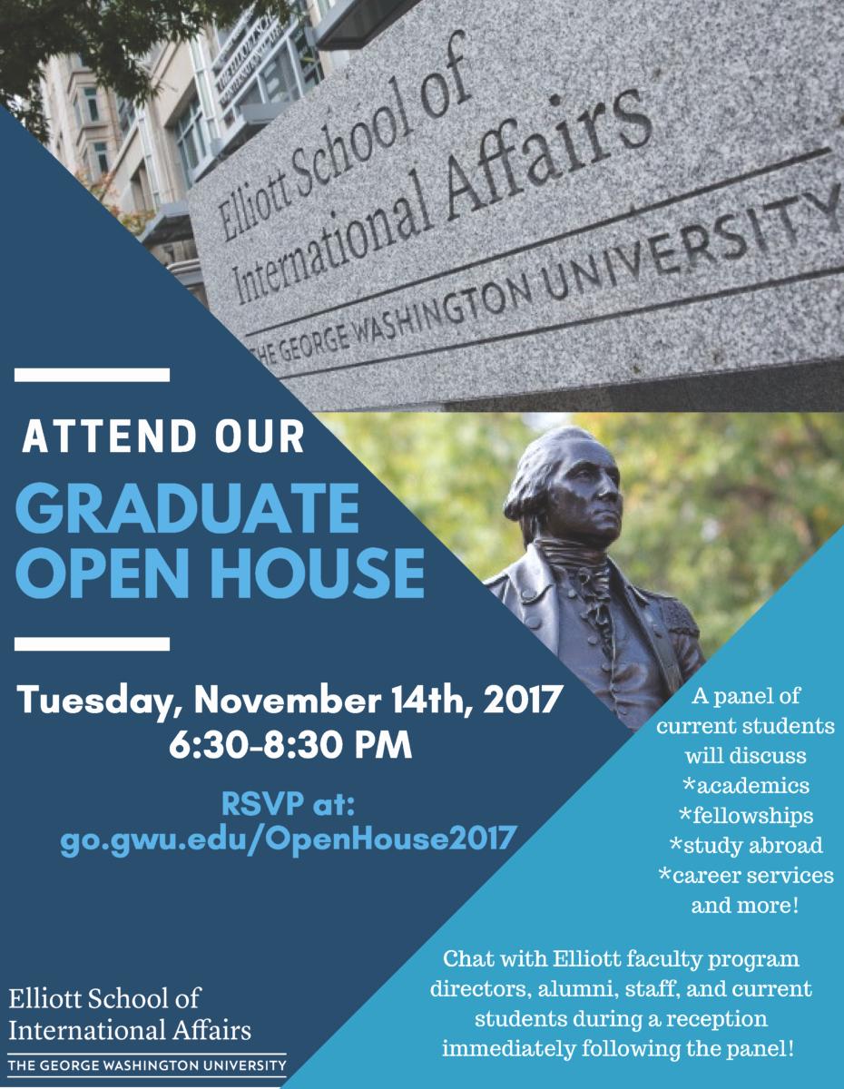 Open House Flyer for School Unique Elliott School Graduate Open House association Of