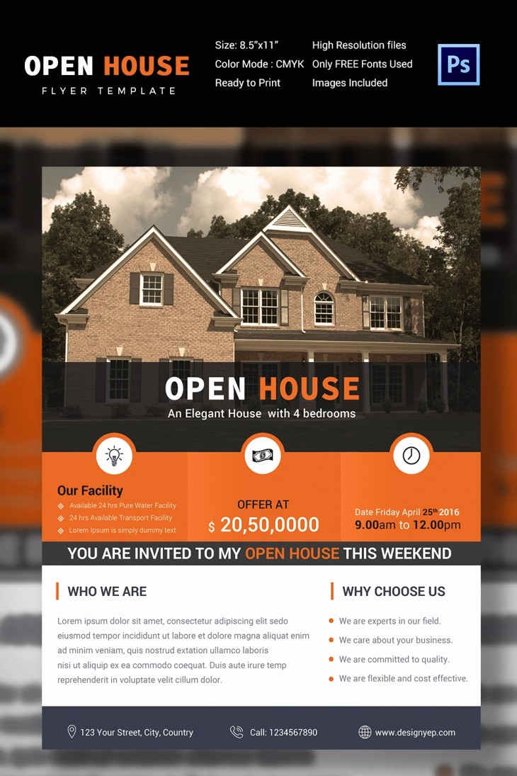 Open House Flyer Template Free Beautiful 27 Open House Flyer Templates Printable Psd Ai Vector