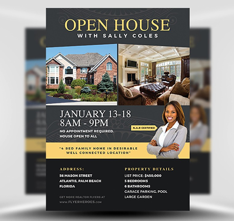Open House Flyer Template Free Elegant Open House Flyer Template 2 Flyerheroes