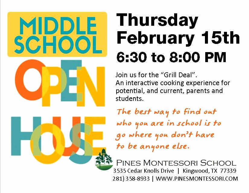 Open House Flyers for School Awesome Middle School Open House Pines Montessori School