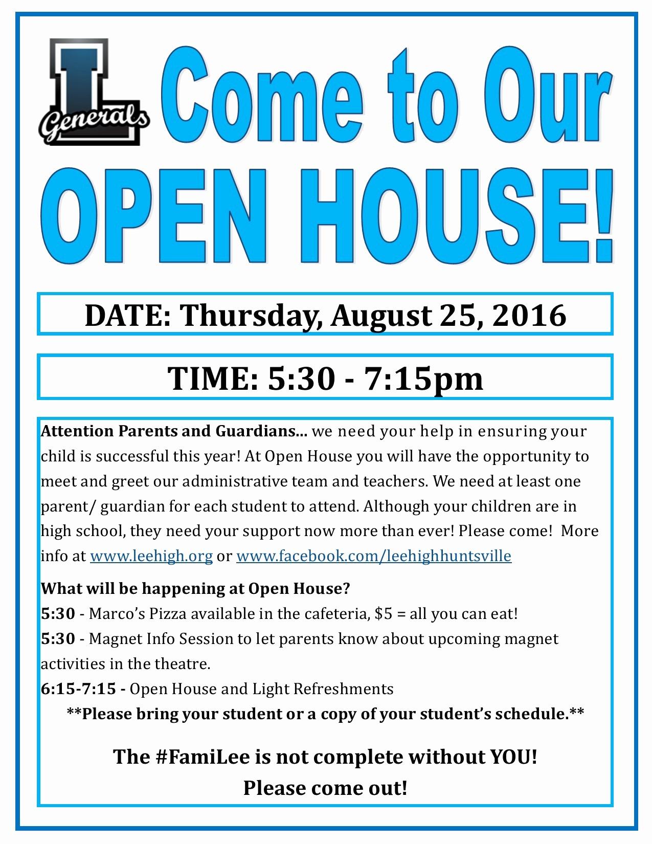 Open House Flyers for School Awesome Ptsa Open House Lee High School