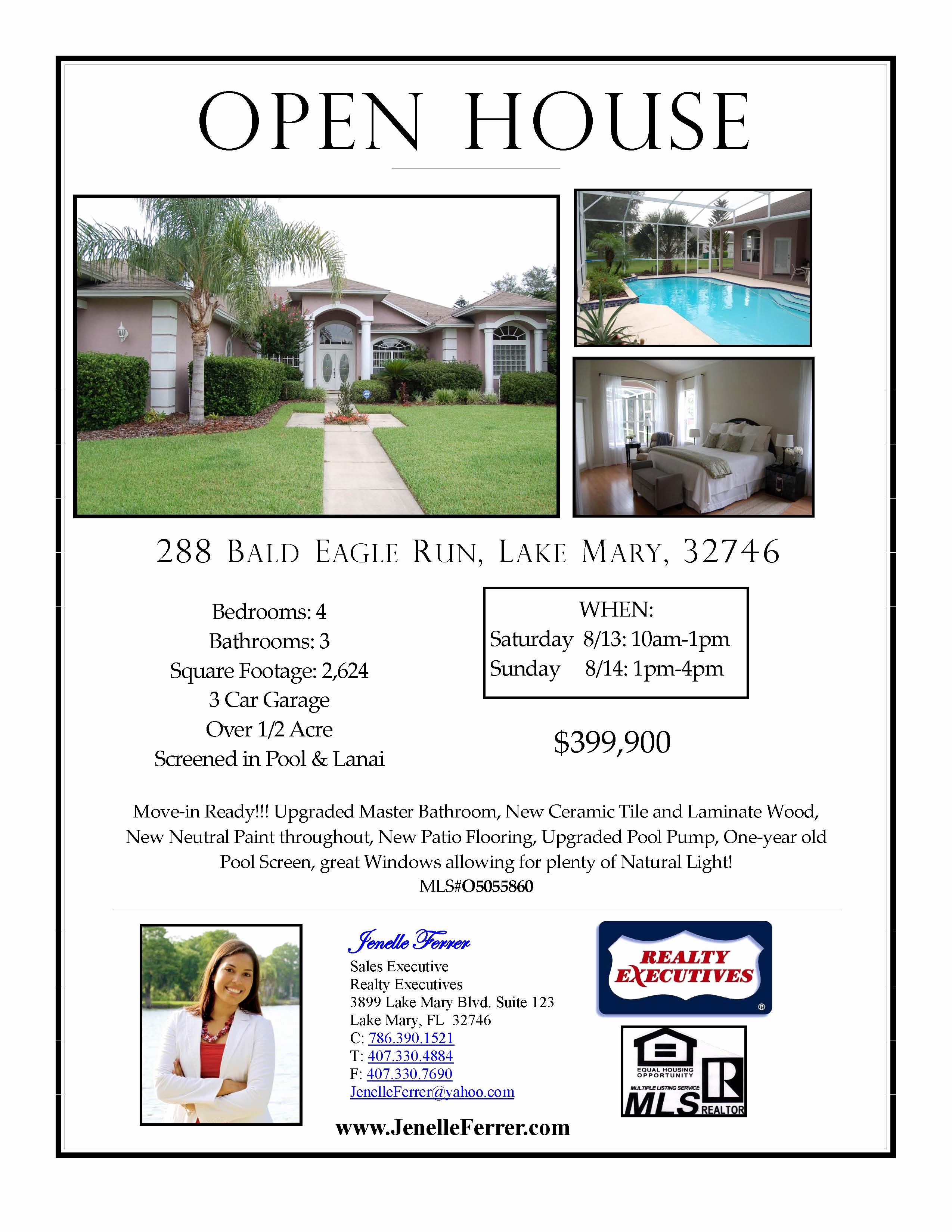 Open House Flyers for School Beautiful Lake Mary Fl Home