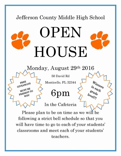 Open House Flyers for School Best Of Middle High School Open House Jefferson County School