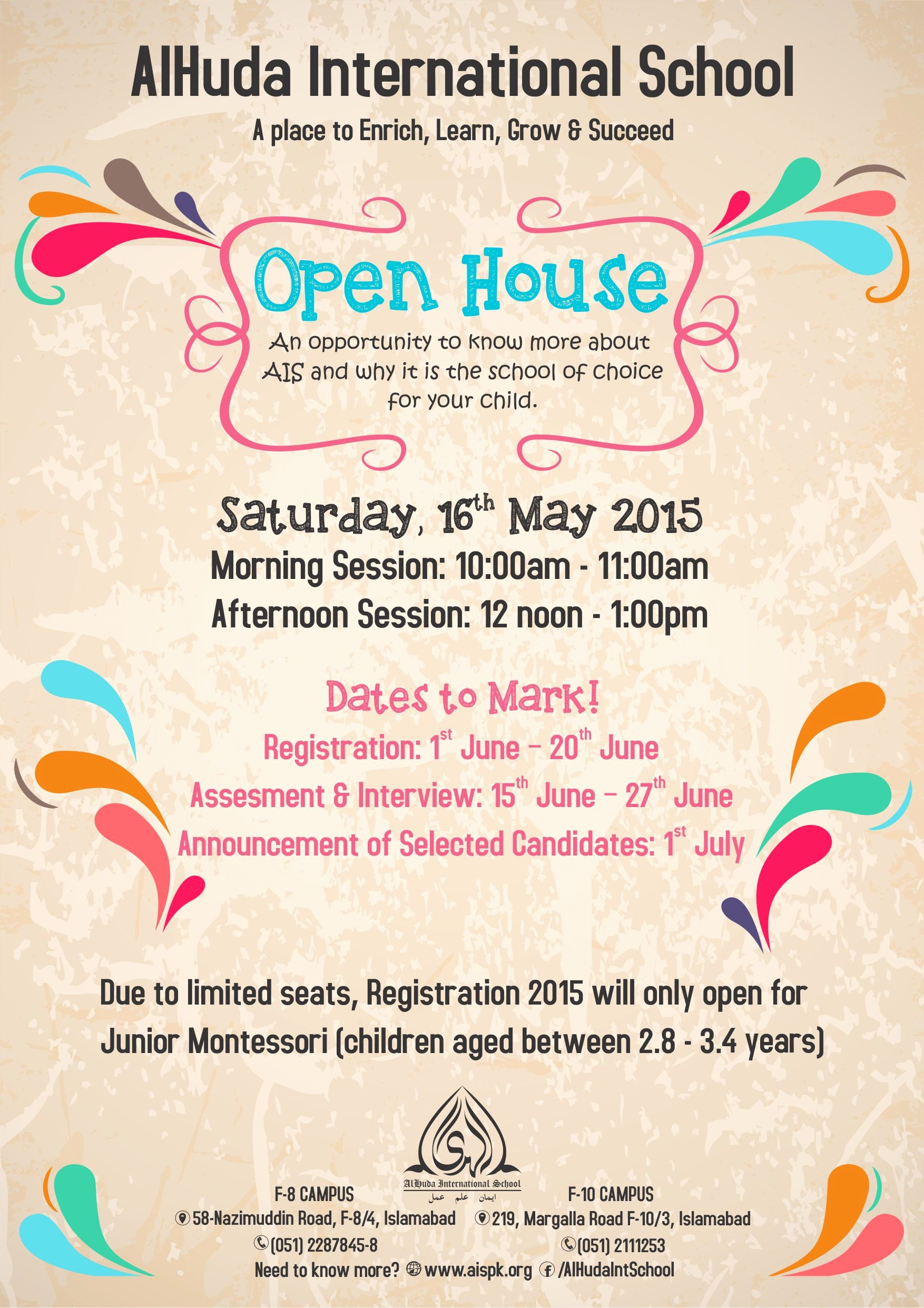 Open House Flyers for School Best Of Open House 2015 Alhuda International School