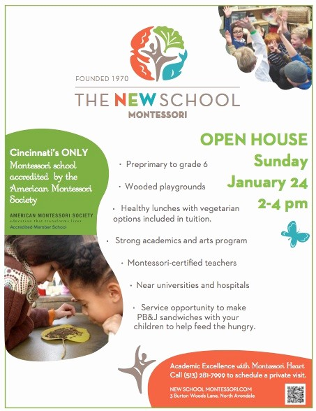 Open House Flyers for School Fresh Open House Jan 24 2 4 the New School Montessori