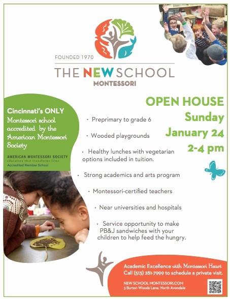 Open House Flyers for School Fresh Open House Jan 24 2 4 the New School Montessori