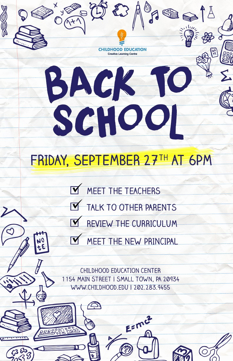 Open House Flyers for School Inspirational Back to School Flyer Psd Docx
