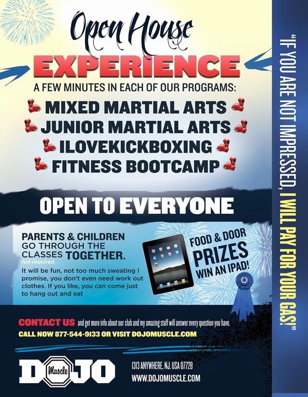 Open House Flyers for School Luxury Open House Flyer Dojo Muscle