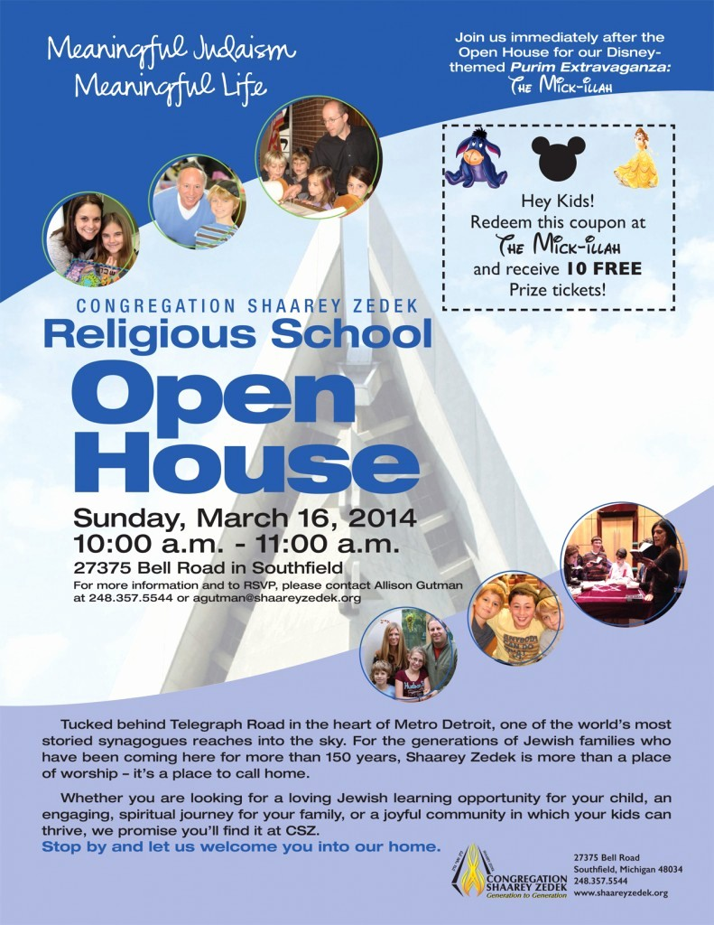 Open House Flyers for School New March 16 – Religious School Open House