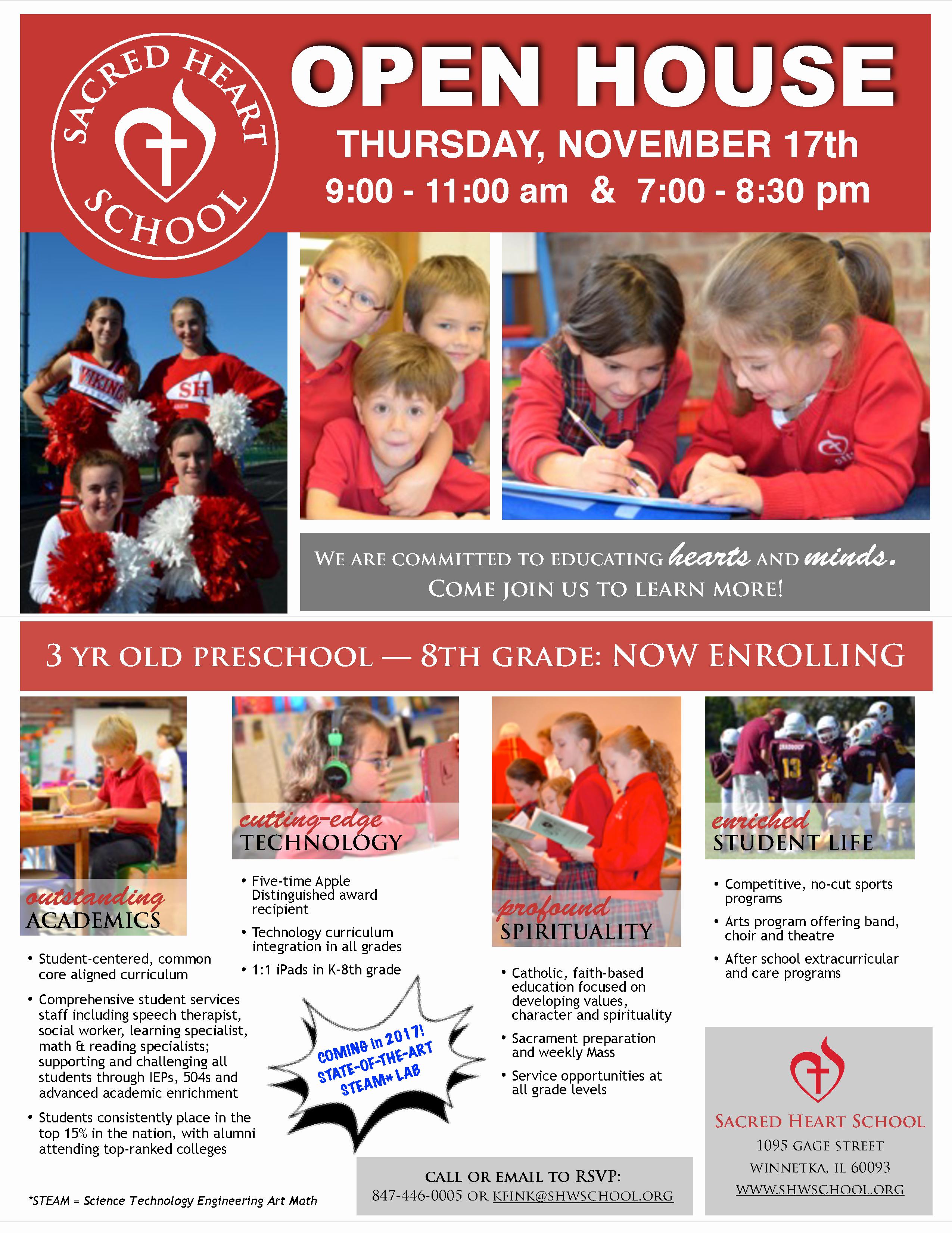 Open House Flyers for School New Sacred Heart School Open House Thursday November 17