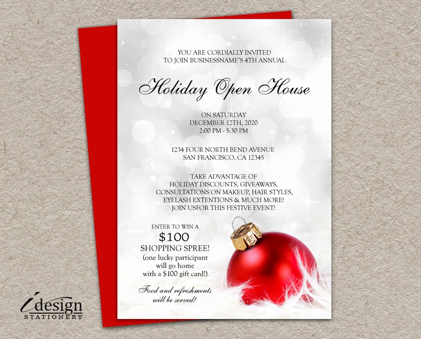 Open House Invitations for Business Best Of Elegant Business Holiday Open House Invitations Printable