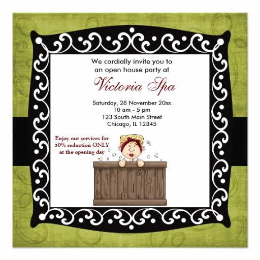 "Open House Invitations for Business Elegant Open House Spa Business 5 25"" Square Invitation Card"