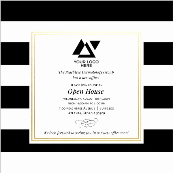 Open House Invitations for Business Inspirational Classic Stripe Corporate Open House Invitation