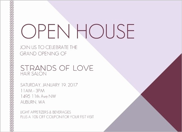 Open House Invitations for Business Lovely Modern Lavender Business Open House Invitation