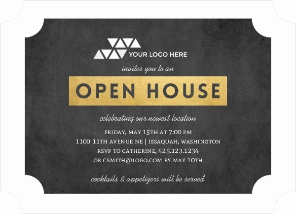 Open House Invitations for Business Luxury Faux Gold Ticket Business Open House Invitation