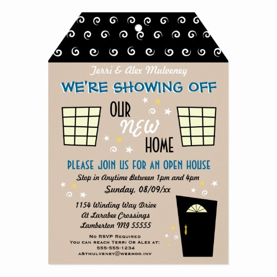Open House Invitations for Business New Whimsical Tag Cut Open House Invitation