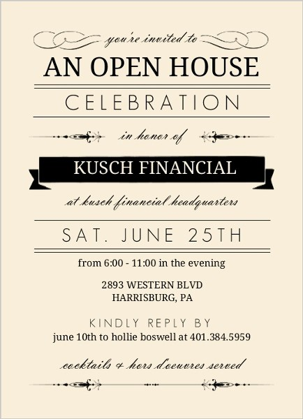 Open House Invitations for Business Unique Cream and Black Typographic Corporate Open House