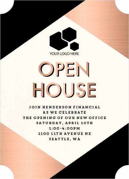 Open House Invitations for Business Unique Modern Copper Business Open House Invitation
