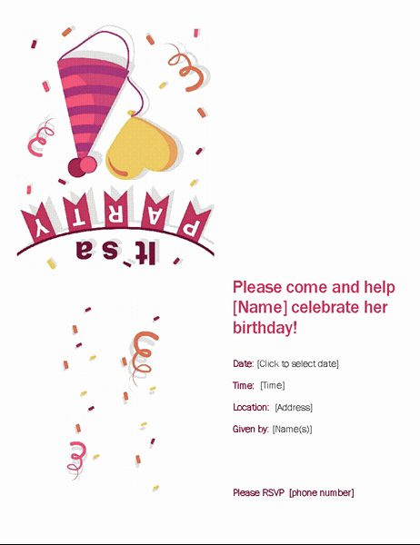 Open Office Birthday Card Template Lovely Birthday Party Invitation