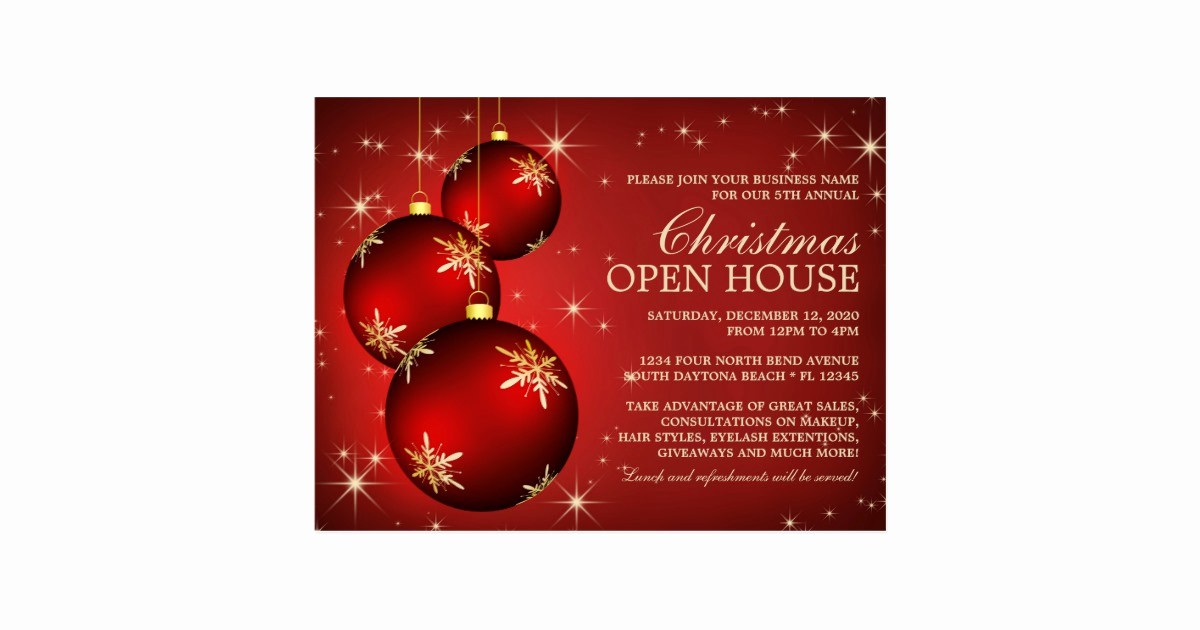 Open Office Birthday Card Template Luxury Elegant Christmas Open House Invitation Template Postcard